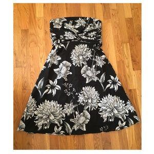 White House Black Market floral strapless dress.